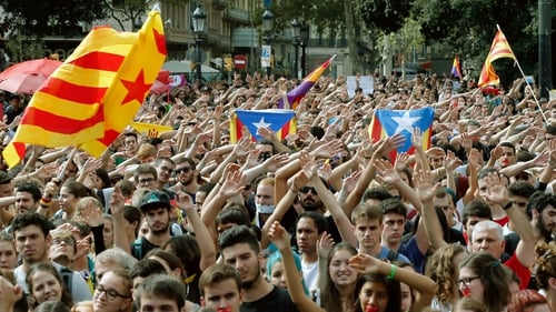 Protests in Catalonia over violence by police during the referendum