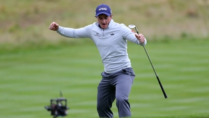 Paul Dunne after chipping in on the 18th hole in the British Masters