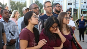 A crowd gathered for a vigil outside Las Vegas City Hall