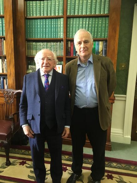 President Michael D Higgins and Myles Dungan at Áras an Uachtaráin