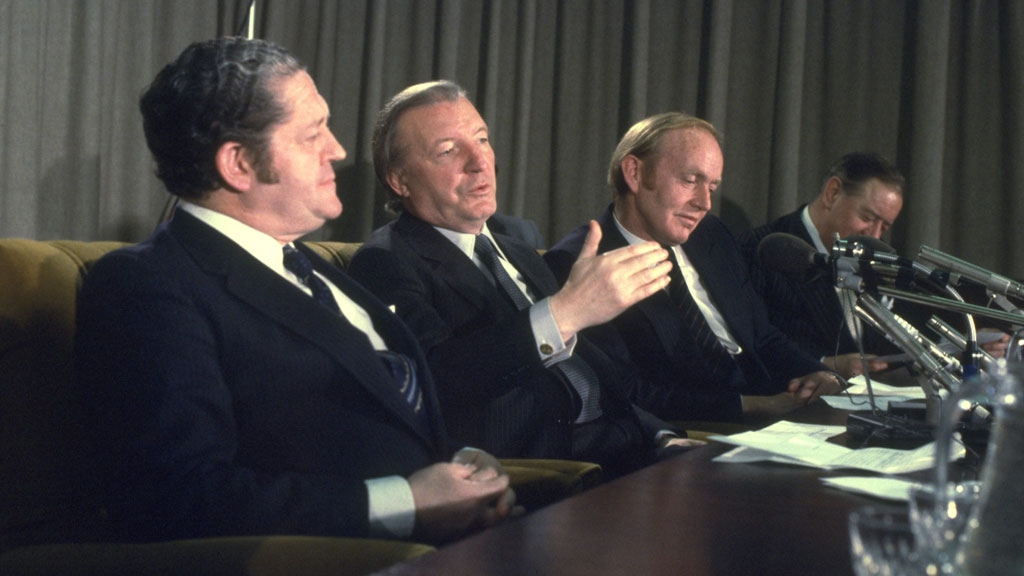 An Taoiseach Charles Haughey (centre) with Brian Lenihan (left) and Minister for Finance, Michael O'Kennedy, (right) in December 1980.
