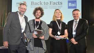 Celebrating the Documentary On One Prix Italia victory: (l-r) Tim Desmond (RTÉ Radio 1 Producer) Jason Murphy (Freelance Producer), Ann Marie Power (Editor, RTÉ Radio 1), Noel Curran (Director General of E.B.U)