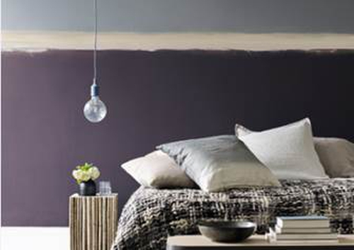 Top wall Moda Backdrop, Bottom wall Moda Amaranth, Stripe Moda Winter Truffle from the Him & Her palette