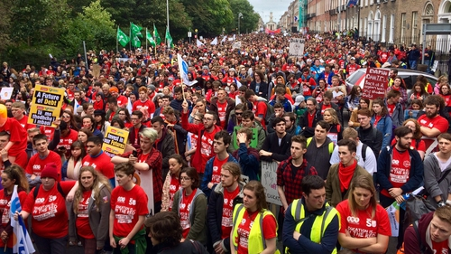 Thousands of college students protesting at Merrion Square in Dublin