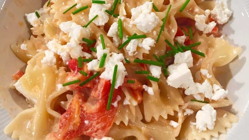 Catherine's Farfalle with Red Pepper Sauce