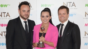 Ant and Dec with last year's I'm a Celebrity... winner Scarlett Moffatt