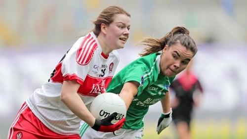 Derry's Annie Crozier with Naomi McManus of Fermanagh