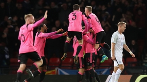 Scotland celebrate their late goal