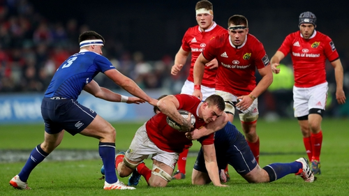 Tommy O'Donnell on the charge against Leinster