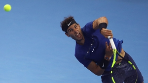 Rafa Nadal in action in the China Open semi-finals.