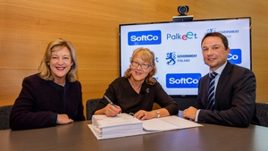 (Pictured L-R) SoftCo Co-Founder Susan Spence; Pirjo Poyhia, Managing Director Palkeet, the Finnish Government's centralised Share Services Centre; Anton Scott, CEO, SoftCo