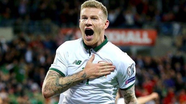 James McClean celebrates his 57th-minute goal against Wales