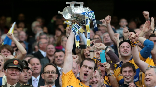 Patrick Donnellan lifts the Liam MacCarthy Cup in 2013