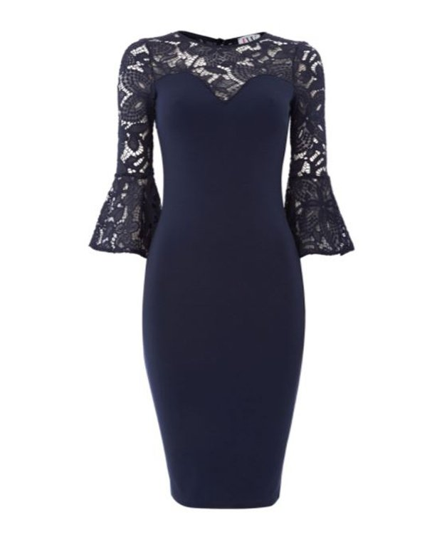 Jessica Wright's lace bell sleeve bodycon dress from House of Fraser