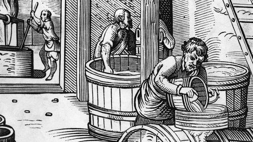 Workers in a brewery circa 1550