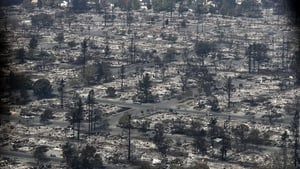 An aerial view of homes that were destroyed by the fire in Santa Rosa