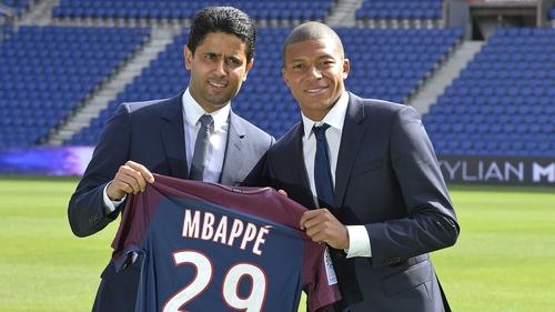 Nasser Al Khelaifi (L) with Kylian Mbappé