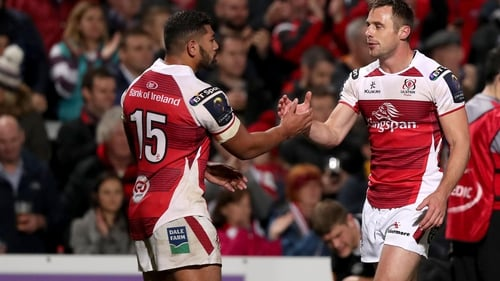 Ulster's Tommy Bowe and Charles Piutau at the full time whistle