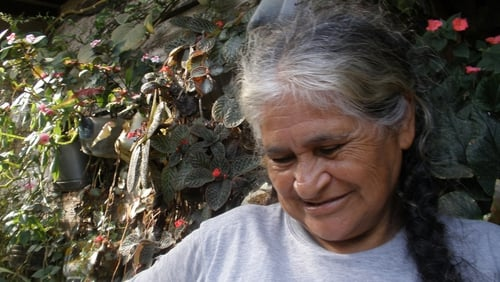 Maria Brigida Gonzales, founding member of the San Jose De  Apartado Peace community. She talks to the Documentary On One team for Colombia: Making the Peace.