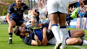 Barry Daly celebrates scoring Leinster's fourth and final try