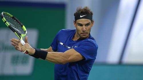 Rafael Nadal in action at the Shangai Masters