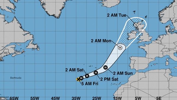 Hurricane Ophelia heads towards Ireland