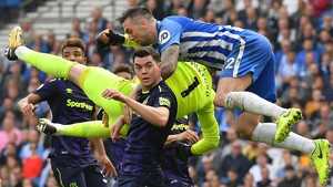 Shane Duffy rises to head clear against Everton