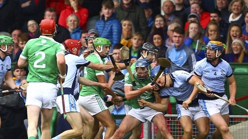 Action from the 2017 Limerick hurling final involving Na Piarsaigh and Kilmallock