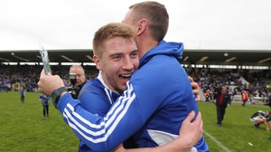 Orin Heaphy of Scotstown celebrates after the game