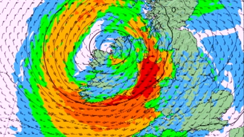 A status red weather warning has been issued by Met Éireann - - its highest warning