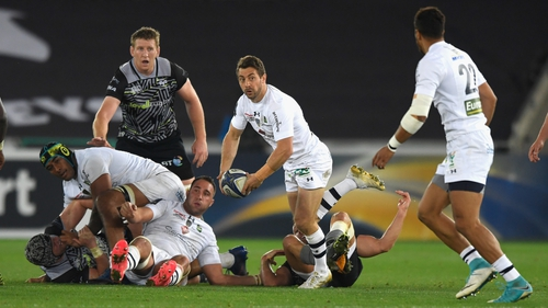 Clermont's Greg Laidlaw in action against Ospreys in the Champions Cup