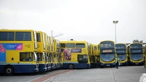 Buses at a standstill at Broadstone depot in Dublin