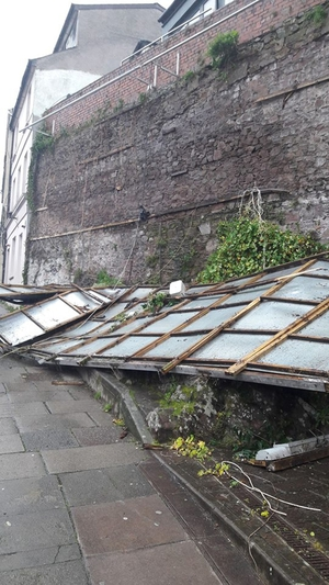 This image of a collapsed billboard just off North Mall in Cork was sent in by Robert Byrne