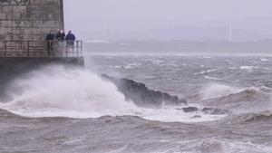 Saltcoats on the west coast of Scotland as Storm Ophelia hits