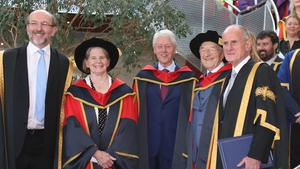 (L-R) DCU President Brian MacCraith, Sister Stanislaus Kennedy, for US President Bill Clinton, Dr Martin Naughton, Dr Martin McAleese