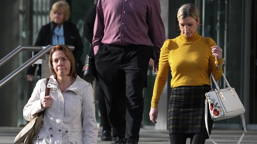 Amy Barratt (L) and Melissa O'Keeffe are seen leaving the Central Criminal Court