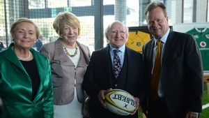 President Michael D Higgins (2nd R) with his wife Sabina (L), Australian Rugby Union (ARU) CEO Bill Pulver (R), and Tanaiste Frances Fitzgerald