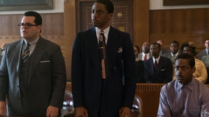 Chadwick Boseman as Marshall  and Josh Gad as Friedman, lawyers for the defence of Spell (Sterling K Brown, seated) in the engagingly stylish Marshall.