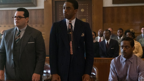 Chadwick Boseman as Marshall  and Josh Gad as Friedman, lawyers for the defence of Spell (Sterling K Brown, seated) in the engagingly stylish Marshall