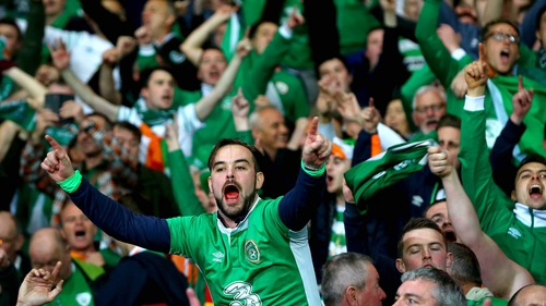 Ireland fans in full cry during the win against Wales in Cardiff