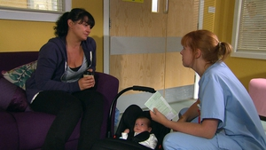 Struggling Moira abandons her baby in the hospital on Emmerdale