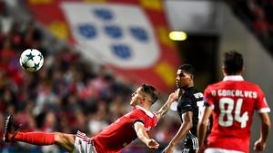 Benfica's Spanish defender Grimaldo Garcia clears the danger