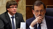 Carles Puigdemont (L) and Mariano Rajoy have traded blame for the stand-off for more than a month