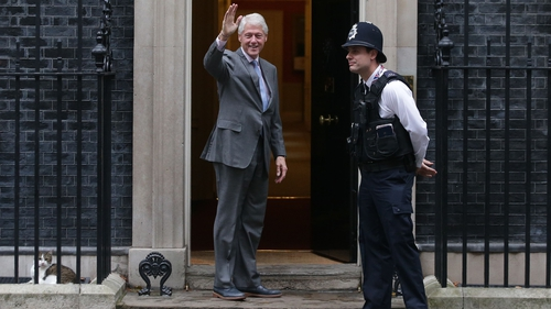 Bill Clinton arriving at Number 10 this morning for talks with Theresa May
