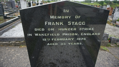 Frank Stagg's first headstone, erected by Gardai over the concrete plot
