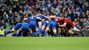 The Leinster scrum locks in against Munster in the recent Pro14 encounter