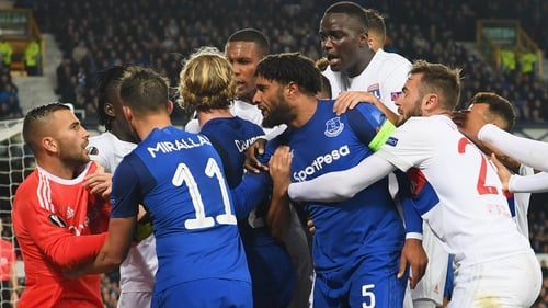Ashley Williams was in the thick of it at Goodison Park