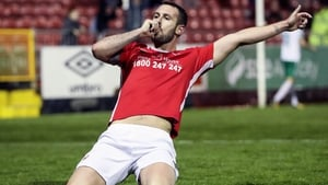 St Pat's Kurtis Byrne celebrates scoring their fourth goal