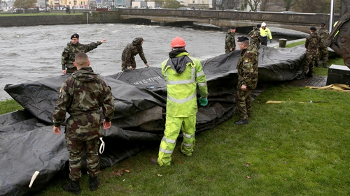 Flood barriers were prepared in Galway city earlier today