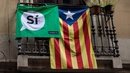 Catalan independence flags hang from a balcony in Barcelona